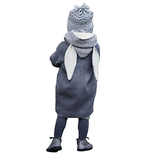 Baby Kind Mantel, QinMM Nette Baby Säuglingsherbst Winter-mit Kapuze Mantel Kaninchen Jacke starke warme Kleidung (1-2J, Grau) (Kuh Hello Kitty)