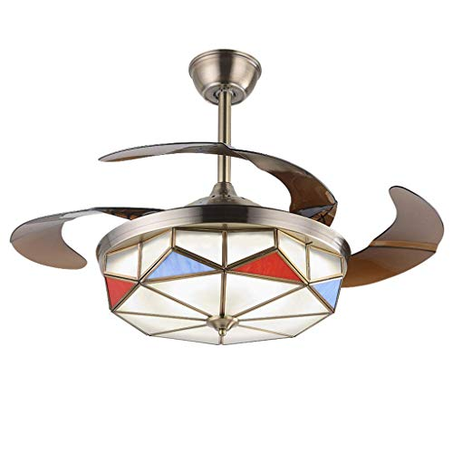 ZHAS Deckenventilatoren Antik Kupfer Schöne Fan Licht Falten Unsichtbare Restaurant Licht Mit Lüfter Kronleuchter A + (Farbe: Bronze, Größe: 106 * 40 cm) -