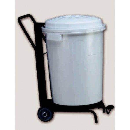 PLASTICOS HELGUEFER - Basurero 95 litros con Pedal Y Ruedas, Color Blanco