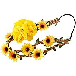 Lurrose Diadema Floral Elegante Margarita Flor Corona de Pelo Tocado Corona para Fiesta de Compromiso Boda de Vacaciones