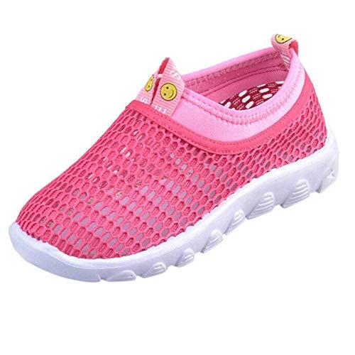 Scarpe Sportive Ragazzi Scarpe da Corsa Ginnastica Respirabile Mesh Running Sneakers Trail Trekking Fitness Casual - Scarpe A Rete per Bambini Unisex(23,Rosa Caldo)