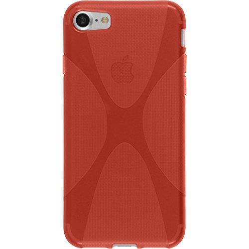 PhoneNatic Case für Apple iPhone 7 Hülle Silikon schwarz X-Style Cover iPhone 7 Tasche + 2 Schutzfolien Rot