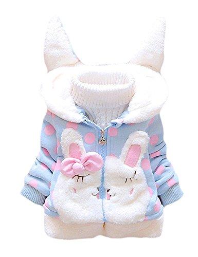Garsumiss Baby Mädchen Mäntel -Jacken, Kapuzenjacke für Kaninchen Fleecefutter mit Bowknot Gefüttert Jacket 0-4 Jahre -