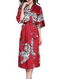 07cad038d Seda de imitación de Las Mujeres Bata Larga camisón Imprimir Kimono Summer  Sexy Robe para Mujer de Manga Larga Albornoz Wedding…