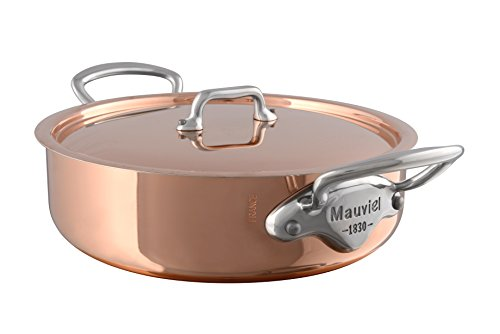 Mauviel Made In France M'Heritage Copper 150s 6130.29 5.8-Quart Rondeau with Lid and Cast Stainless Steel Handle by Mauviel