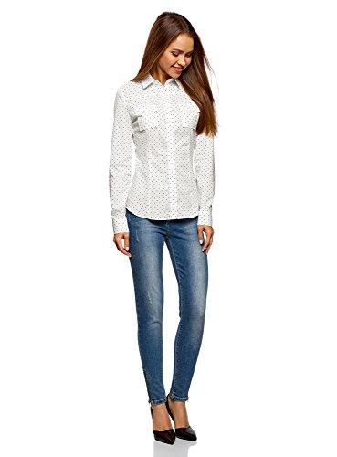 oodji Ultra Donna Camicia Stampata in Cotone Bianco (1229Q)