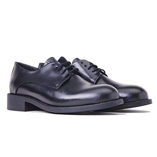 FRAU 98P1 schwarze Schuhe Frau Derby glatt polierten Lederlaufsohle Gummi Nero
