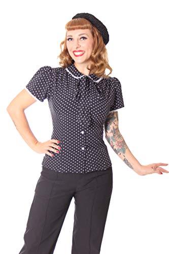 SugarShock Damen Schluppenbluse Bluse Syril Polka Dots, Größe:L, Farbe:Schwarz