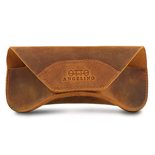 Londo Genuine Leather Case for Eyeglass, Sunglasses, Goggles and Spectacles with Magnetic Closure (Camel)