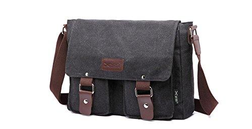 Borsa a tracolla da uomo tela vintage e pelle Satchel messenger Crossbody Sling Side bag Bookbag School bag marrone Coffee 2 Black 1