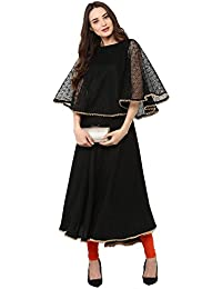 Janasya Women Indian Embellished Crepe Sleeveless A-Line Kurti/Kurta Top, Black