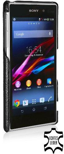 StilGut esclusiva cover posteriore in vera pelle per Sony Xperia Z1, nero