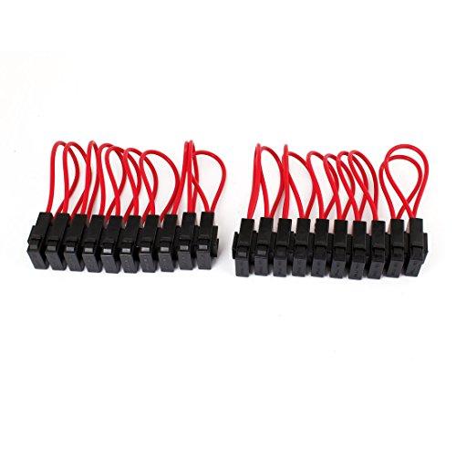 20 pcs Auto Voiture Rouge Noir Coque Audio Inline Lame Porte-fusible 12 V