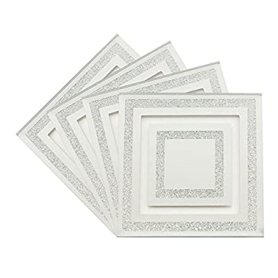Set Of 4 Mirror Glass Silver Glitter Heat Resistant Coasters Dining Table Mat - inexpensive UK light shop.