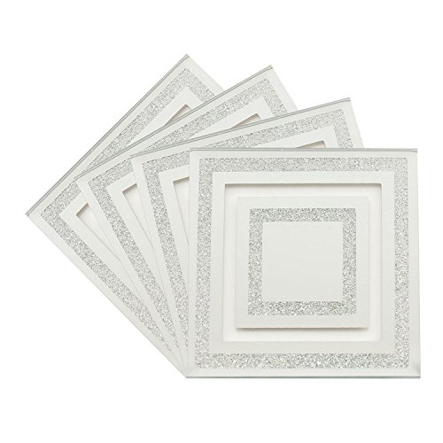 set-of-4-mirror-glass-silver-glitter-heat-resistant-coasters-dining-table-mat