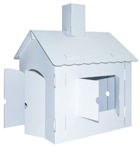 Kreul 39106 - Joypac Bastelkarton Spielhaus XL, ca. 44,5 x 41 x 57 cm, weiß zum selber Gestalten
