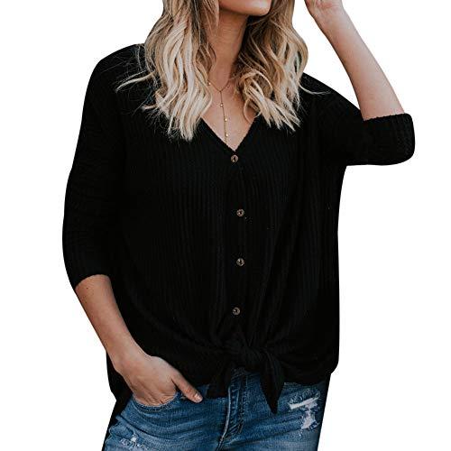 Vertvie Damen Pullover V-Ausschnitt Langarm Einfarbig Shirt Oberteile Hemd Sweatshirt Tops Loose Strickpullover Pulli Bluse(Schwarz, 2XL) -