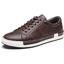 c3a3ea09f Zapatos de Cordones para Hombre Conducción Zapatillas Cuero Casual Shoes  Attività Commerciale Sneakers Negro Gris Marrón