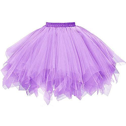 Andouy Damen Tutu Rock Tüll Mix Bunte Petticoat Ballett Tanz Organza Geschichteten Kostüm Dress-up sexy Größe - Lila Feen Kostüm Frauen