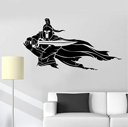 Spartan Warrior Helm Schwert Mantel der Krieger Vinyl Wandtattoo Home Decor Schlafzimmer Kunst Wandbild Tapete Wandaufkleber 58x31cm