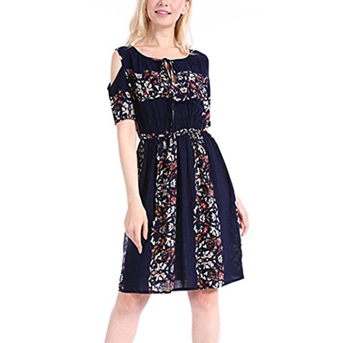 Kleider ,Frashing Sommer Bandeau Kleid Holz-Perlen Damen Strandkleid Tuchkleid Tuch Aztec Drucken Plus Größe Folk-Custom O-Neck trägerlosen Verband Mini Dress (M, Marine) (Kleider Perlen Plus Größe)