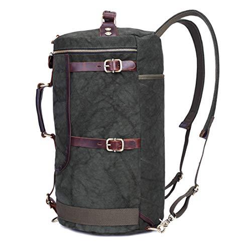UICICI Vintage Männer/Frauen Rucksack Daypack Wasserdichte Reißverschluss Leinwand Eimer Tasche Student Outdoor Shopping (Farbe : Dark green)