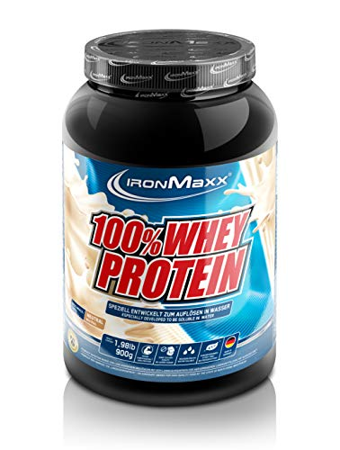 IronMaxx 100{9ea72ad96389bf6c7d62af8d496ede746b9522072071a48823ea344b8748f23f} Whey Protein Pulver - Proteinreiches Eiweißpulver für Proteinshake - Wasserlösliches Proteinpulver mit neutralem Geschmack - 1 x 900 g Dose