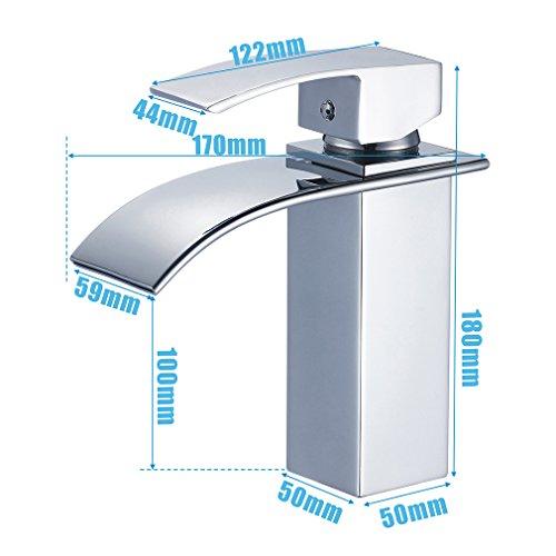 Auralum – Moderne Wasserfallarmatur für Waschbecken, Chrom - 7