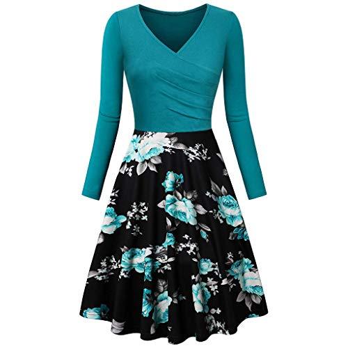 iHENGH Damen Frühling Sommer Rock Bequem Lässig Mode Kleider Frauen Röcke Vintage Langarm v-Ausschnitt Druck Abendgesellschaft Prom schaukel Dress(Blau, XL) (Cleaner Ray-ban Sonnenbrille)