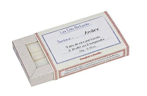 Comptoir de Famille 145790 Dés Parfumés Ambre, Boîte de 9 Cire, Blanc, 13x11x11 cm