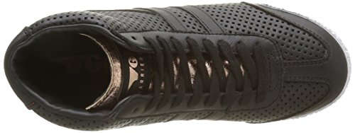 Gola Harrier High Glimmer Leather, Baskets Basses Femme Noir - Schwarz (Black/Rose Gold)