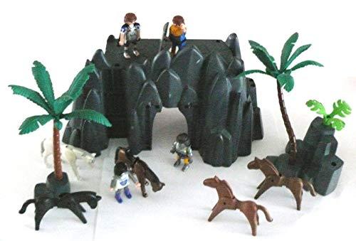 playmobil  - großer Felsen Berg Landschaft bei der Burg 4 Ritter 5 Pferde und 2 Felsen mit Palmen Strauch