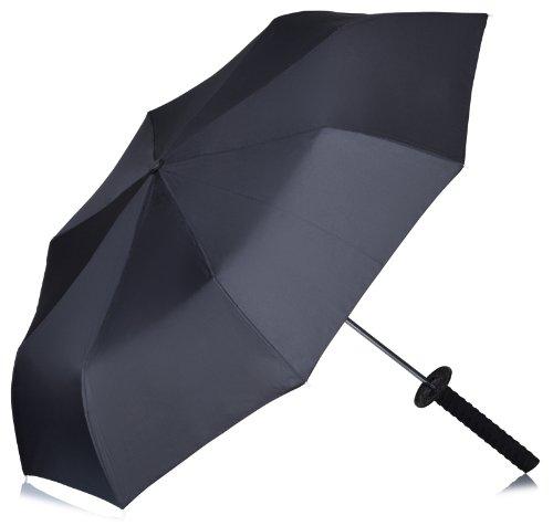 VENKON - Ombrello Spada Ninja - con tracolla e manico in disegno della Katana - Colore: nero