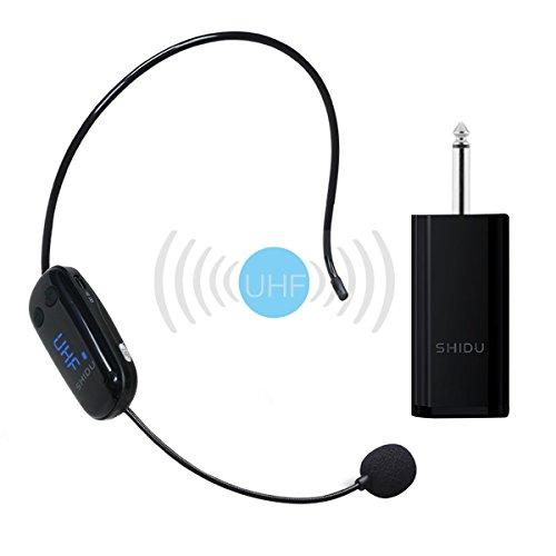 Versione UPGRADED Microfono senza fili, Trasmissione wireless UHF stabile Auricolare senza fili a mani libere da parete Perfetto per la registrazione, reflex digitale, amplificatore vocale, Smart TV