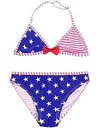 739405627e7a Xinantime Bikini Set Bambina Stampa a Righe Stelle Due Pezzi Costumi da  Bagno Bambini Bowknot Tracolla