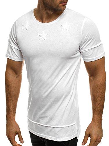 OZONEE Herren T-Shirt mit Motiv Kurzarm Rundhals Figurbetont BLACK ROCK 1011/17 Weiß