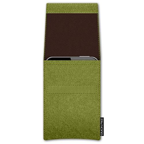 SIMON PIKE Apple iPhone SE/5S/5C/5 Filztasche Case Hülle 'Sidney' in rot 10, passgenau maßgefertigte Filz Schutzhülle aus echtem 100% Natur Wollfilz, dünne Tasche im schlanken Slim Fit Design für das  gruen Filz (Muster 2)