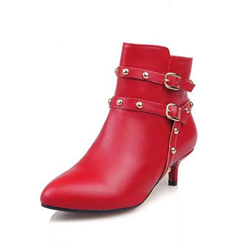 VogueZone009 Damen Reißverschluss Mittler Absatz PU Leder Niedrig-Spitze Stiefel, Rot, 35