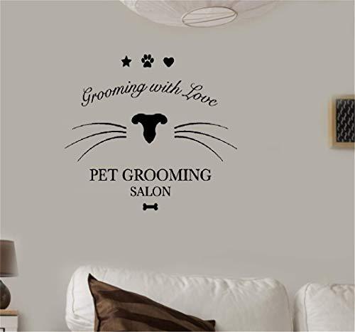 wandaufkleber 3d Wandtattoo Kinderzimmer Dog Pet Grooming Salon Wall Sticker Quote With Love Shop Window Decoration Decor Creative Diy