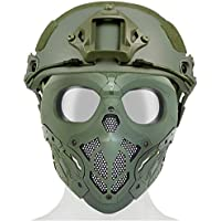 WTZWY Tactical Fast PJ Casco Ajustable y máscara Cara Completa Airsoft Skull con Lente de PC Protección Ocular para CS Shooting Fiesta Disfraces Halloween Cosplay,Od