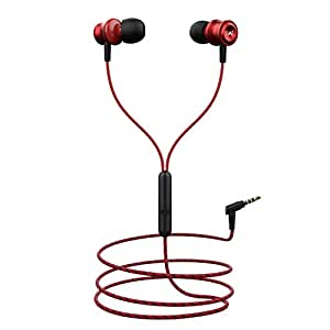 boAt BassHeads 152 with HD Sound, in-line mic, Dual Tone Secure Braided Cable & 3.5mm Angled Jack Wired Earphones. (Red)