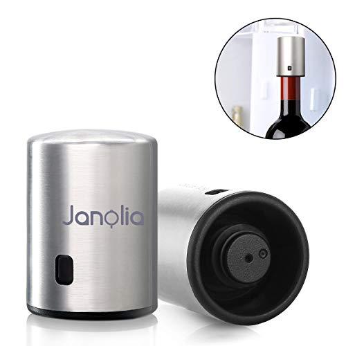 Janolia Tapón de Vino Vacío, Tapón Intelegente de Memoria con Acero Inoxidable, Hasta 7 Días de Conservación, Con 0.038 Grado de Vacío, 41.6x 41.6 x57.5 mm