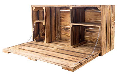 Kontorei® Set Große geflammte/gebrannte Wand Hängebar 81cm x 41xm x 31cm 1er Set mit Arbeitsplatte Hausbar Bar, Truhe Regal (Rustikale Regale Wand)