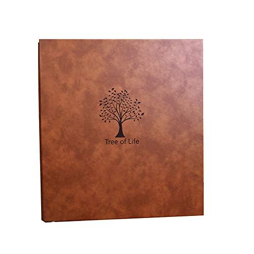 Lunuolao DIY-Fotoalbum, Design mit runder Rückseite, Retro-wasserdicht, große Kapazität, horizontale vertikale Mischung, feuchtigkeits- und staubdicht, hohe Transparenz, braun -