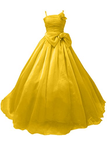 Milano Bride M?rchenhaft Princess Traeger Lang Organza Abendkleider Promkleider Festliche mit Schleife Blumen Gold