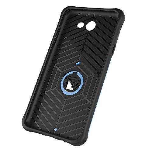 Shock-resistent 360 Grad Spin Sniper Hybrid Case TPU + PC Kombi-Gehäuse mit Halter für Samsung Galaxy J7 (2017) / J727 by diebelleu ( Color : Blue ) Blue