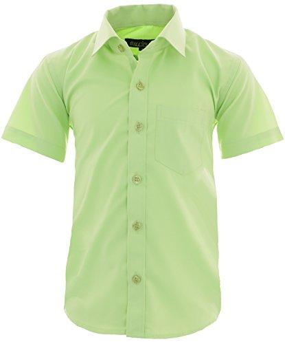 GILLSONZ A0 vDa New Kinder Party Hemd Freizeit Hemd bügelleicht Kurz ARM Gr.86-158 (152-158, Apfelgrün)
