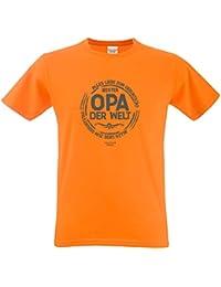 cooles Fun T-Shirt Motiv Bester Opa der Welt ideales Geschenk Vatertag Farbe: orange