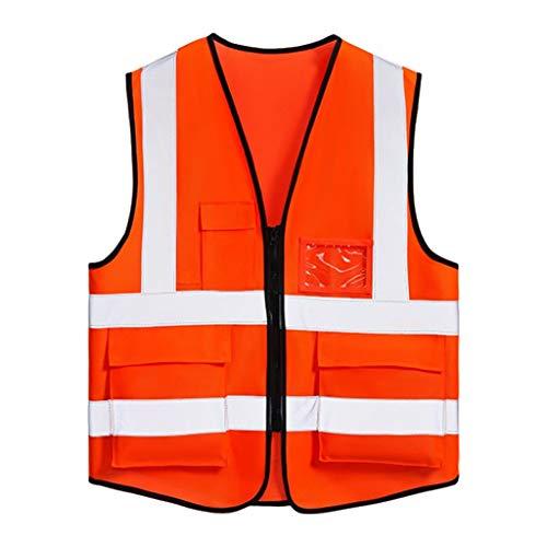 LQ Orange Warnweste 100% Polyester Arbeitskleidung mit Mehreren Taschen Reflektierende Sicherheitsweste Travel at Night Security Unisex Sicherheitswesten (Pink Box-taschenlampe)