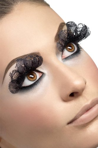 Smiffy's - Wimpern künstliche Augenwimpern schwarz Stoff Halloween (Halloween Wimpern)